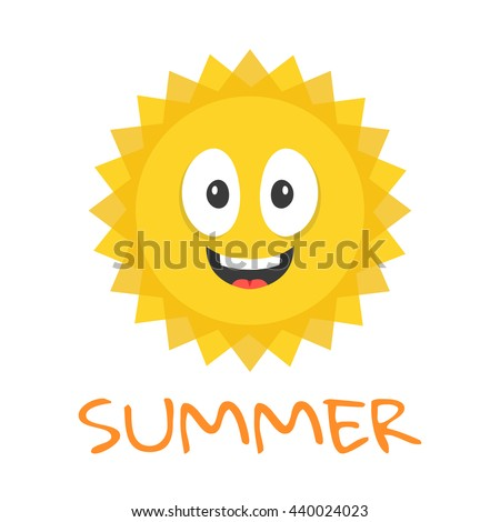 Cute sun character. Funny smiling sun mascot and summer title. Cartoon vector illustration - stock vector