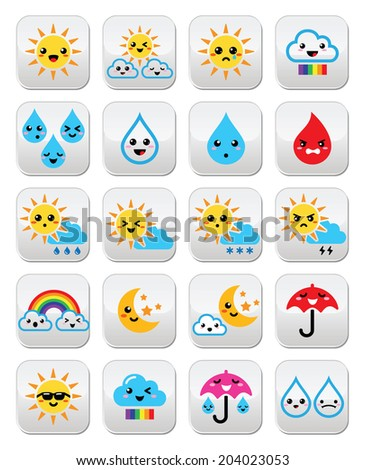 Cute sun, rainbow, moon, rain and cloud - Kawaii, Manga buttons  - stock vector