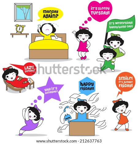 Cute Sunday to Monday characters illustration set - stock vector