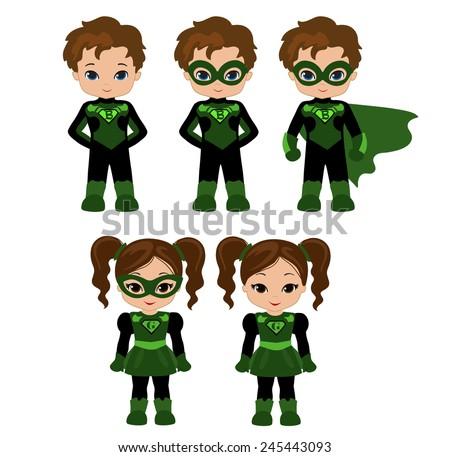 Cute superhero girl and boy vector clip art set. Super Girl and Super Boy. - stock vector