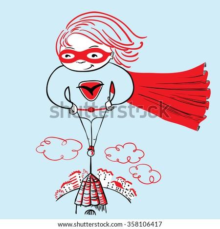 Cute superhero girl illustration - stock vector