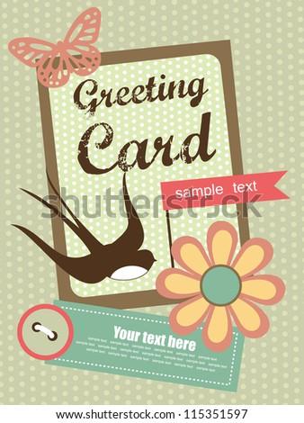 cute swallow. card design. vector illustration - stock vector