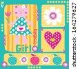 cute sweet adorable girl teddy vector illustration - stock vector