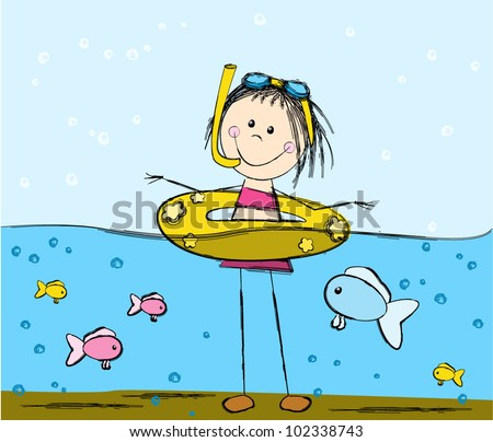 Cute swimming girl and fishes - stock vector