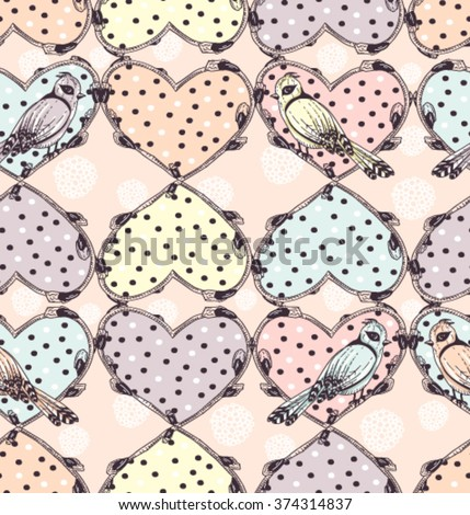 Cute tattoo hearts and birds seamless pattern - stock vector