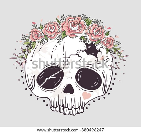 Cute tattoo style skull. Skull with flower crown. Sugar skull. - stock vector