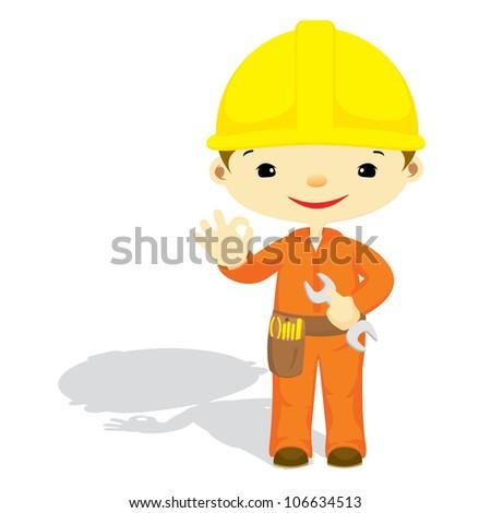 cute technician showing OK gesture - stock vector