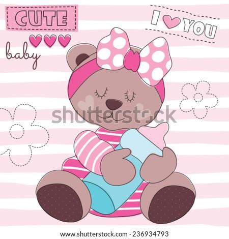 cute teddy bear baby with feeding bottle vector illustration - stock vector
