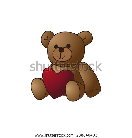 Cute teddy bear doll with heart shape vector image illustration - stock vector