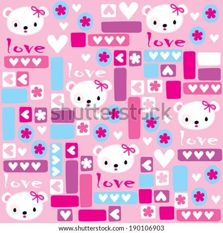 cute teddy bear head pattern vector illustration - stock vector