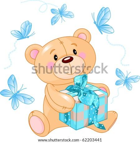 Cute Teddy Bear sitting with blue gift box - stock vector