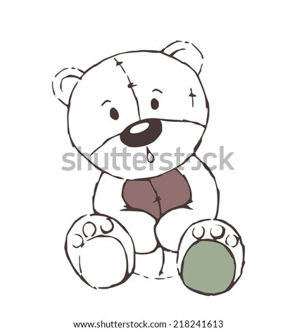 Cute teddy bear toy sketch - isolated on white - stock vector