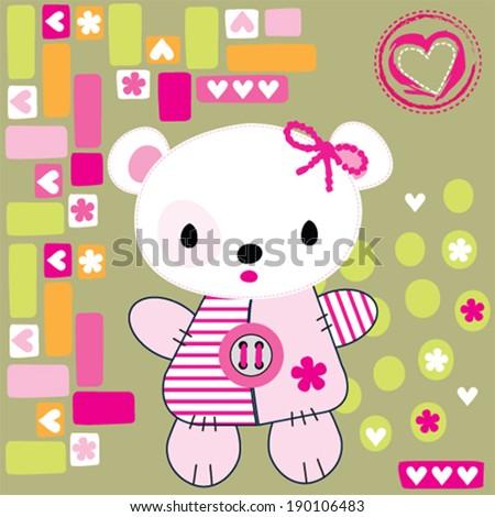cute teddy bear vector illustration - stock vector