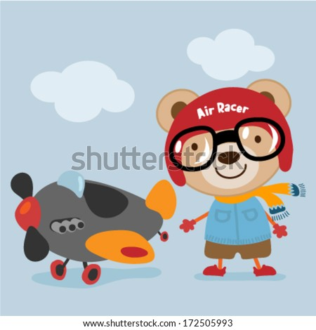 Cute teddy bear with an airplane. Vector illustration - stock vector