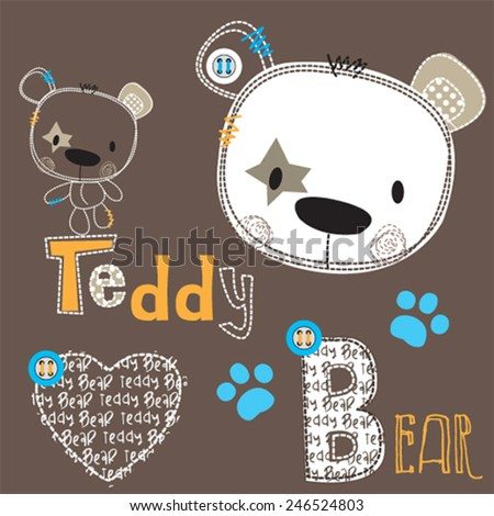 cute teddy bear with paw vector illustration - stock vector
