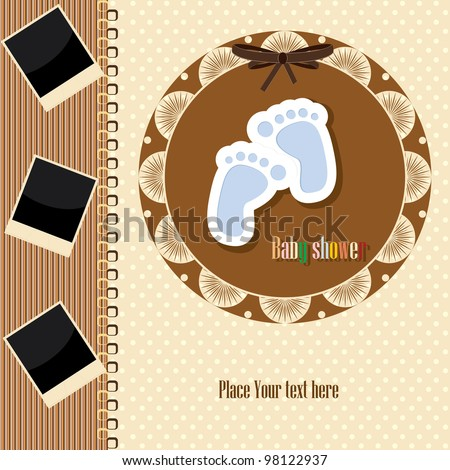Cute template for baby's arrival announcement card or photo frames - stock vector
