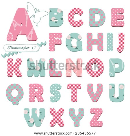 Cute textile font for scrapbook or collage design. Patchwork style. Different patterns included under clipping mask. - stock vector
