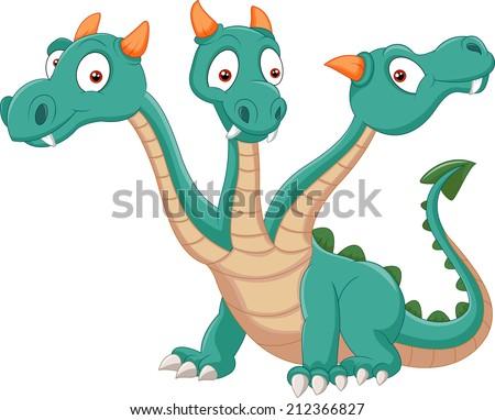 Cute three headed dragon - stock vector