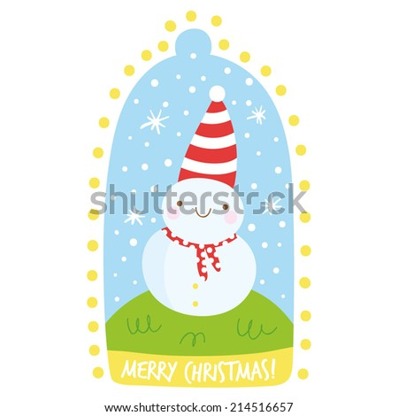 Cute tiny snowman. Cute Christmas illustration in cartoon style. Happy smiley snowman in hat. Adorable Merry Christmas card design - stock vector