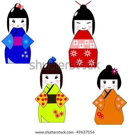 cute traditional japanese kokeshi dolls - stock vector