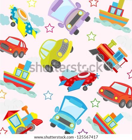 cute transport seamless pattern - stock vector