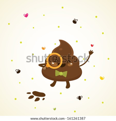 Cute turd with a magnifying glass - stock vector