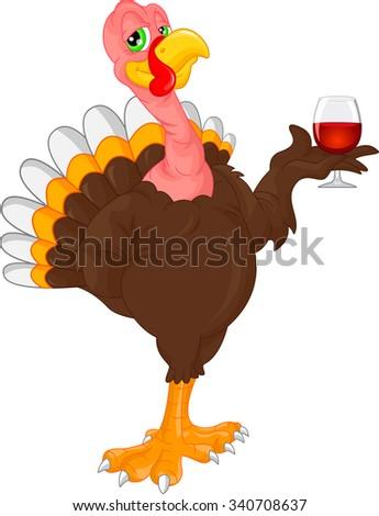 cute turkey bird cartoon - stock vector