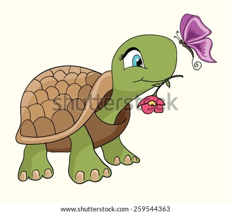 Cute turtle cartoon/Cartoon smiling green turtle character/Cartoon tortoise walking forward with a slow, steady gait/T-shirt Graphics/illustration turtle/emotional postcard - stock vector