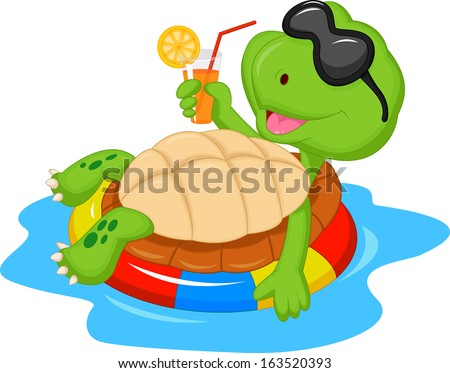 Cute turtle cartoon on inflatable round - stock vector