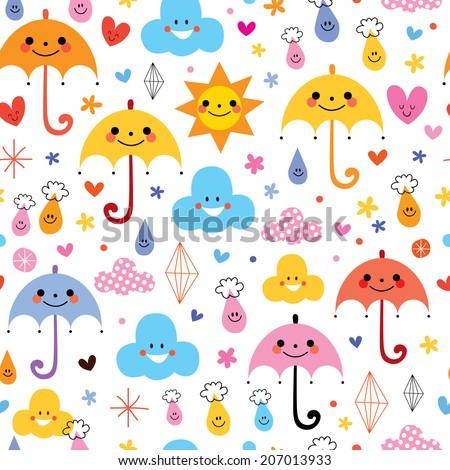 cute umbrellas raindrops flowers clouds sky seamless pattern - stock vector