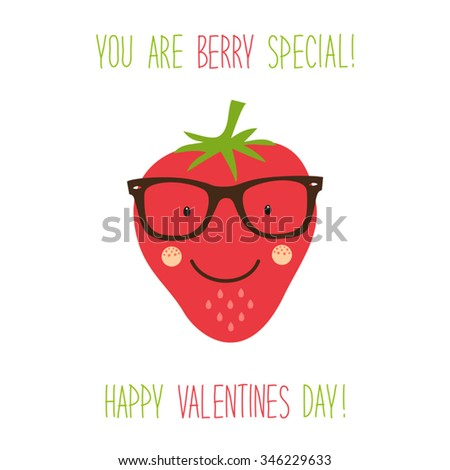 Cute unusual hand drawn Valentines Day card with funny cartoon character of strawberry and hand written note - stock vector