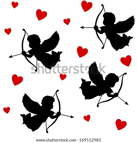 Cute valentine seamless pattern with silhouettes of angels cupids with arrows and hearts, black icons, vector illustration background - stock vector