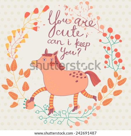 Cute Valentines day card with funny cartoon horse in vector - stock vector