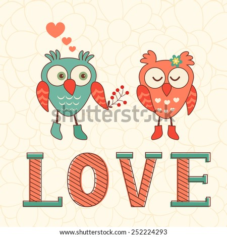 Cute Valentines day card with two owls in love. Vector illustration - stock vector
