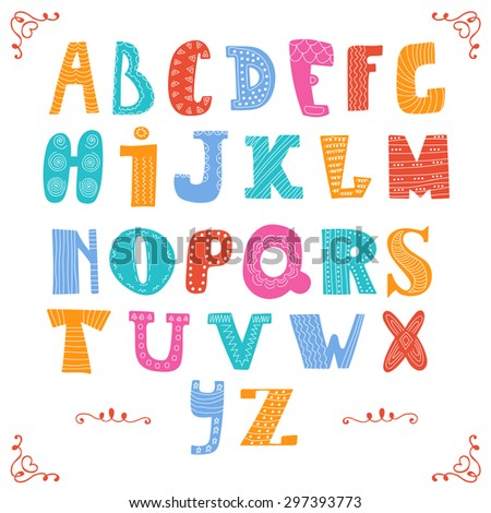 Cute vector alphabet isolated on white background. Hand drawn letters. Alphabet design in a colorful style. Vector illustration - stock vector