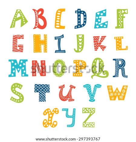 Cute vector alphabet isolated on white background. Letters. Vector illustration - stock vector