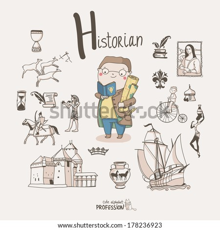 Cute vector alphabet Profession. Letter H - Historian - stock vector