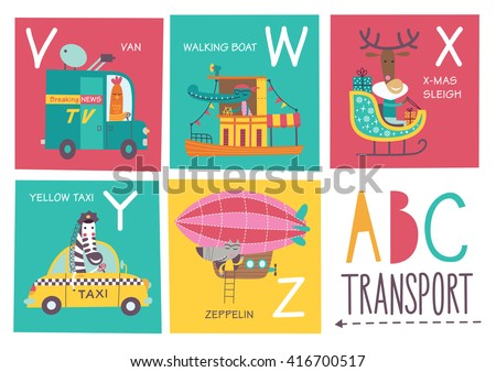 Cute vector alphabet with animals and transport in cartoon style. V, W, X, Y, Z. Part 5. - stock vector
