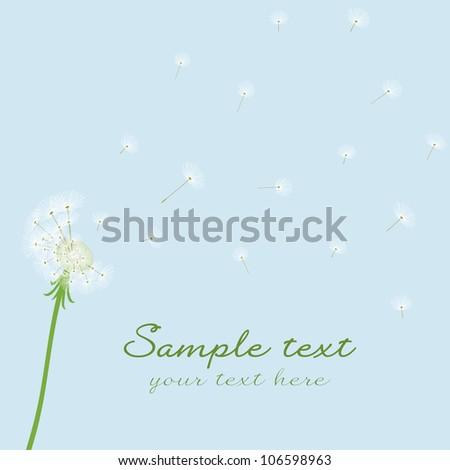 Cute vector blow dandelion on blue background - stock vector