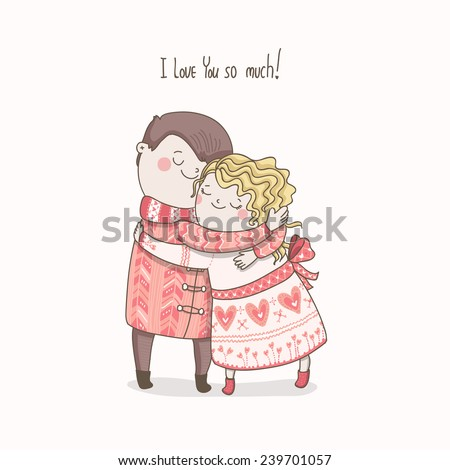 Cute vector card I love you so much! Happy Valentines day!  - stock vector