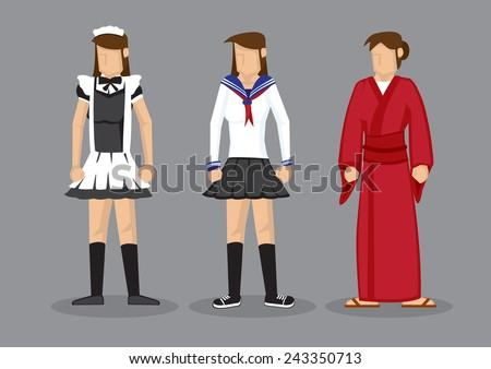 Cute vector cartoon illustration of cosplayer girls in fancy costumes, french maid, sailor uniform and Japanese kimono, isolated on grey background.  - stock vector