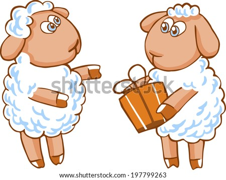 Cute vector cartoon sheep character isolated on white. - stock vector