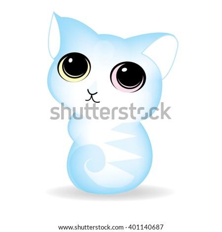 cute vector cat - stock vector