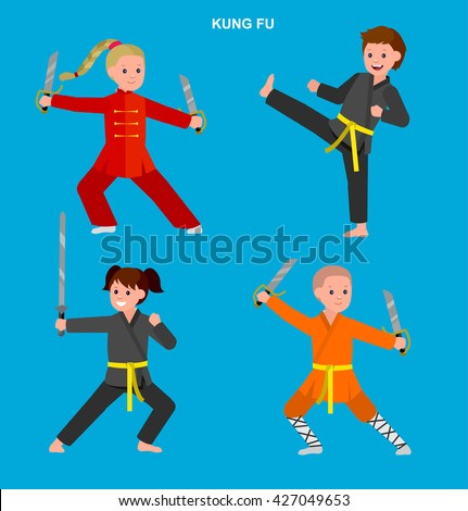 Cute vector character kid Shaolin monk. Illustration for martial art kung fu poster. Kid wearing kimono and training - stock vector