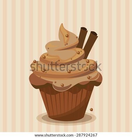 Cute vector chocolate cupcake - stock vector