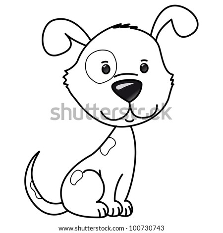 cute vector dog, coloring, isolated on white background - stock vector