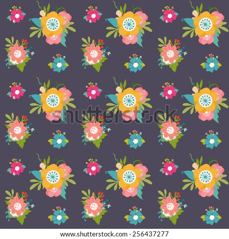 Cute vector floral seamless background - stock vector