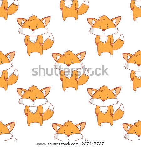 Cute vector fox seamless pattern. Fox pattern with light background. Funny childish wallpaper - stock vector