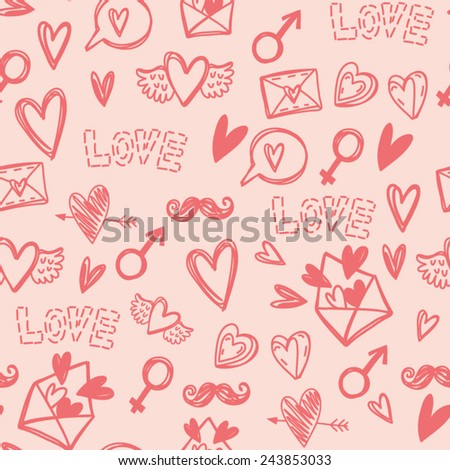 Cute vector hand-drawn pattern of symbols of love: birds in love, hearts, flowers, wings, letters with hearts. Awesome background, perfect for weddings, greeting cards, wrapping paper and other. - stock vector
