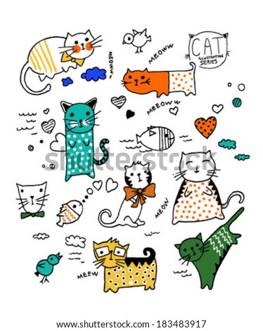 cute vector illustration cats collection - stock vector